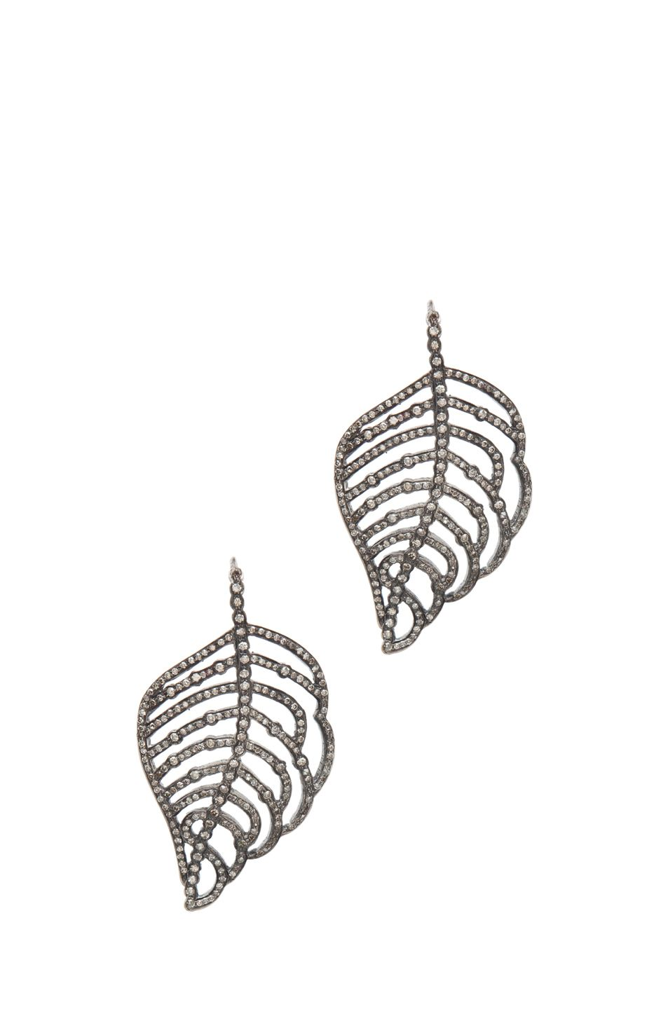 Simply beautiful Irit Design Feather Diamond Earrings in Silver