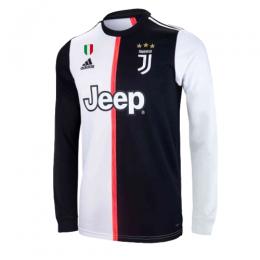 19 20 Juventus Home Black White Long Sleeve Soccer Jerseys Shirt Jersey Shirt Soccer Jersey White Long Sleeve