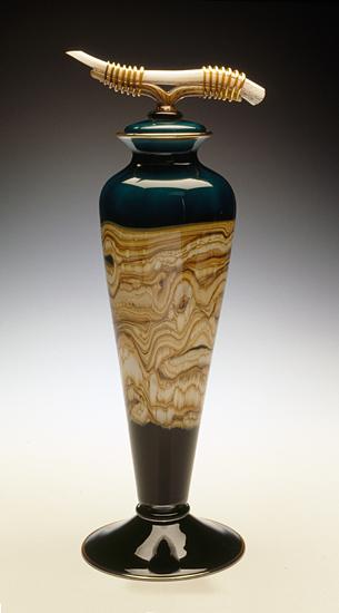 Sage Covered Vessel: Danielle Blade and Stephen Gartner: Art Glass Vessel - Artful Home