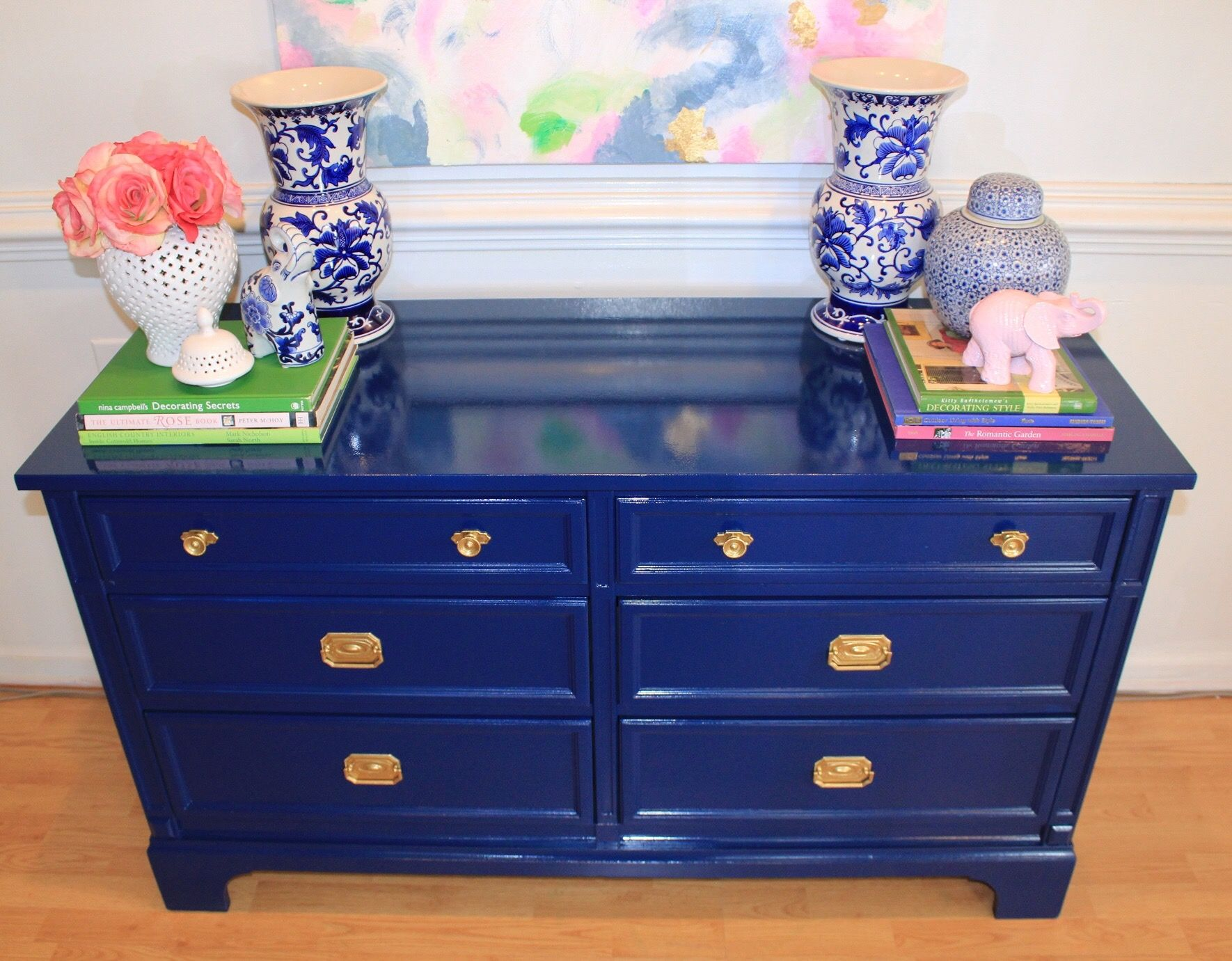 Navy Blue Lacquered High Gloss Dresser Or Buffet Styled With Chinoiserie Chic Decor Dresser Decor Bedroom Chinoiserie Dresser Decor [ 1381 x 1770 Pixel ]