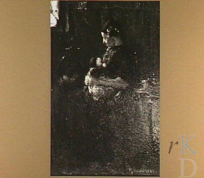 Marie Wandscheer Hierdense vrouw met kind  Harderwijk, Veluws Museum, inv./cat.nr. VM 4752 #Gelderland #Veluwe #Harderwijk #oudedracht