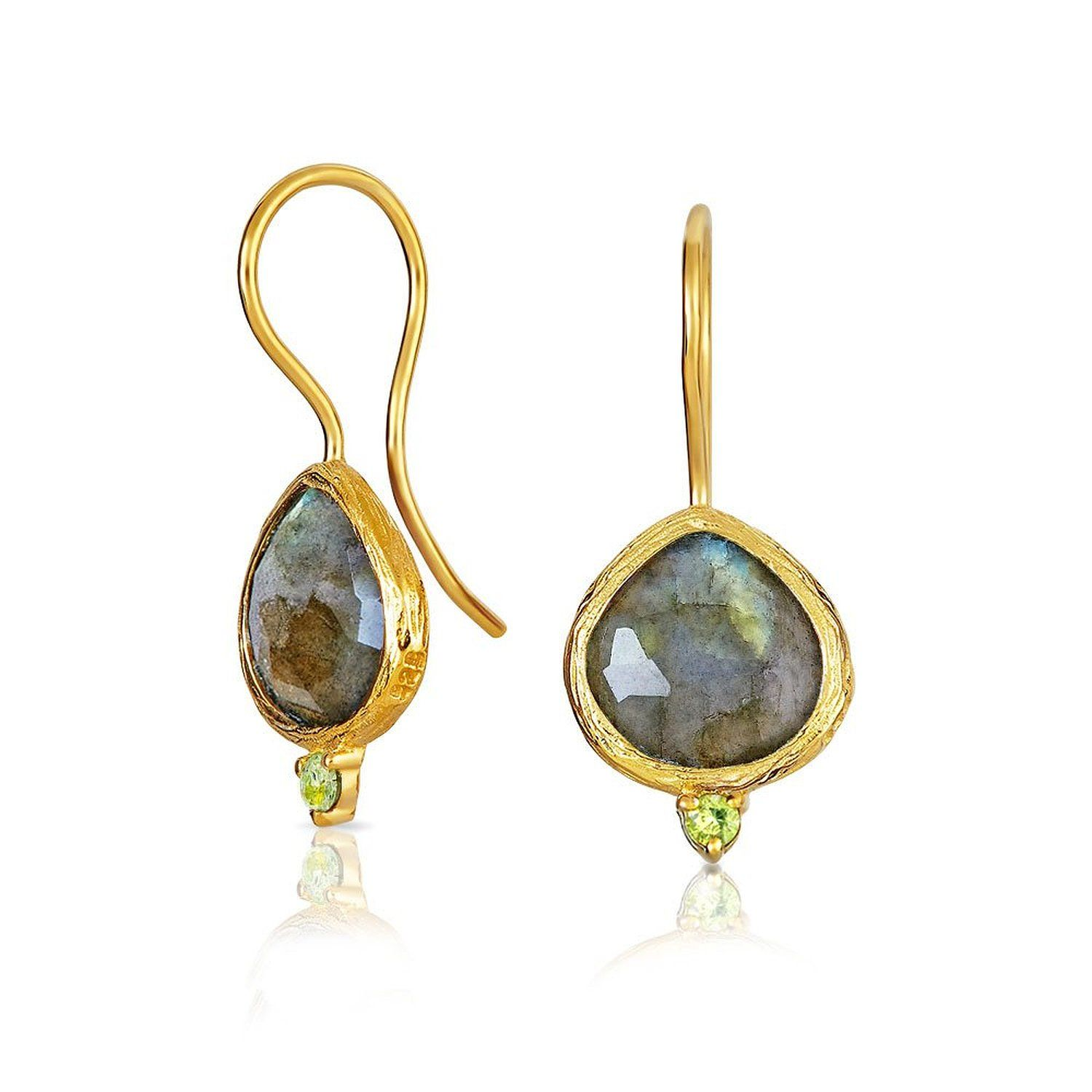 Bling Jewelry 925 Silver Labradorite Prehnite Teardrop Earrings nnBwGQ