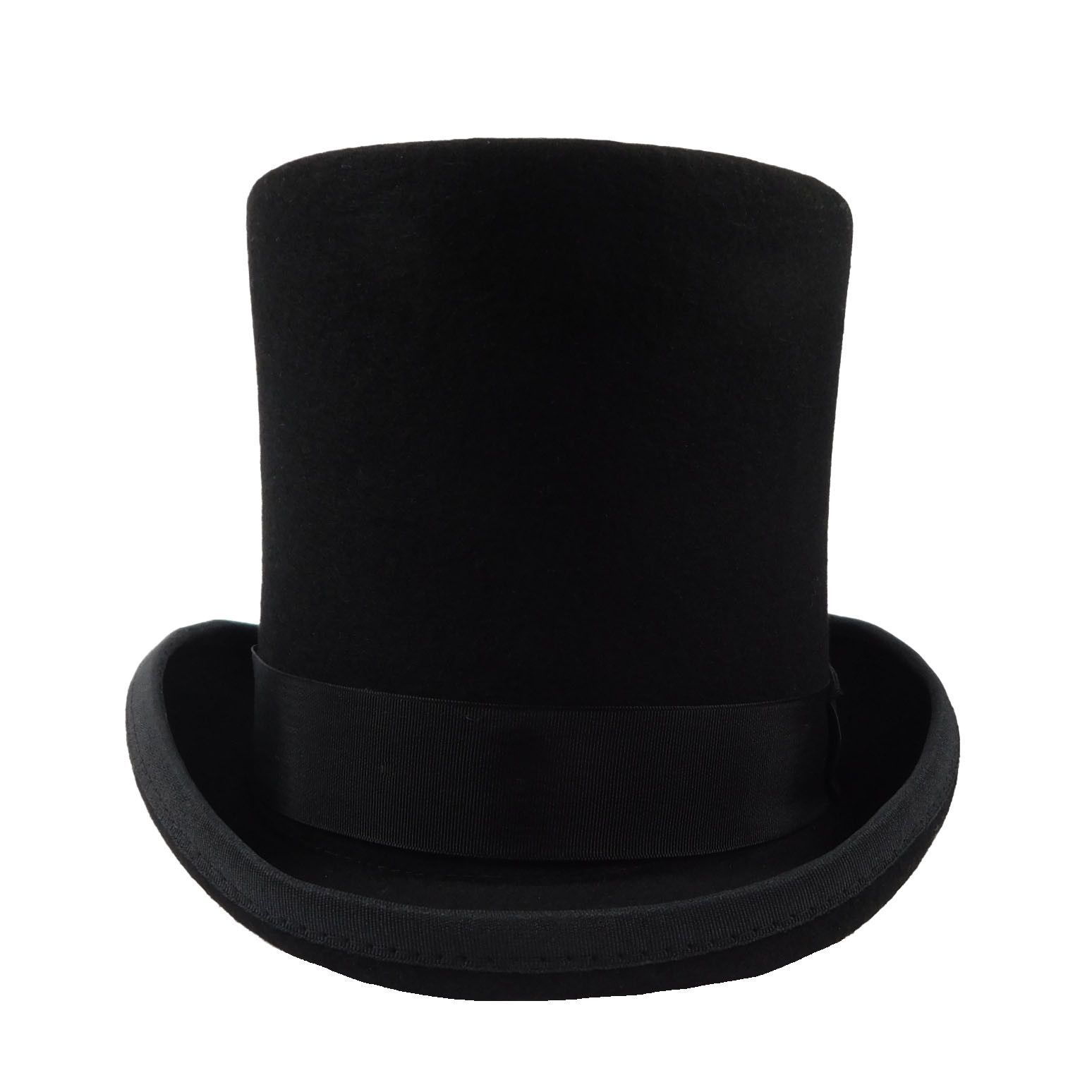 52e03f4729868 Tall Wool Felt Top Hat with Satin Lining
