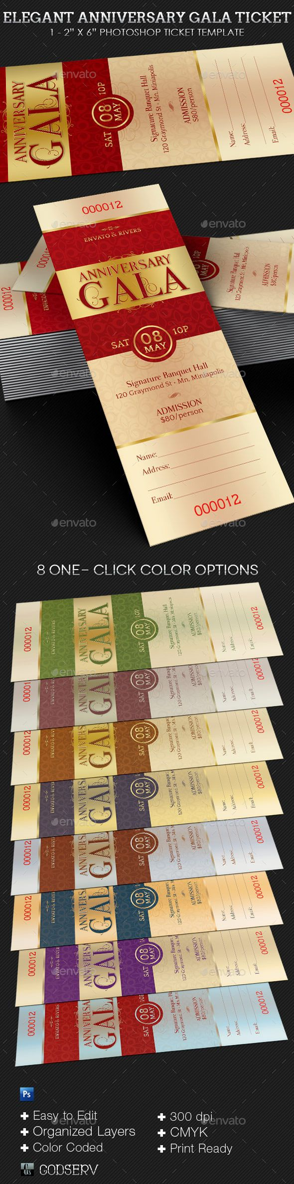 sample invitation letter to attend an event%0A Elegant Anniversary Gala Ticket Template