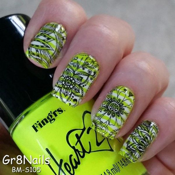 uñas verdes decoradas con sharpie | mail stamp | Pinterest | Uñas ...