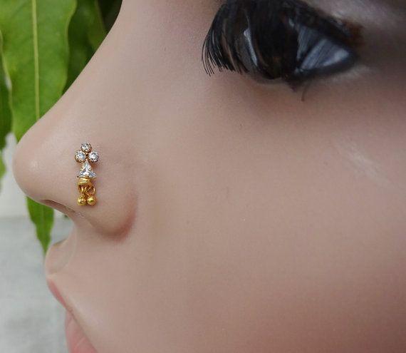 Crystal Nose Ring,Indian Nose Ring,Indian Nose Stud,Medusa Piercing,Gold Nose…