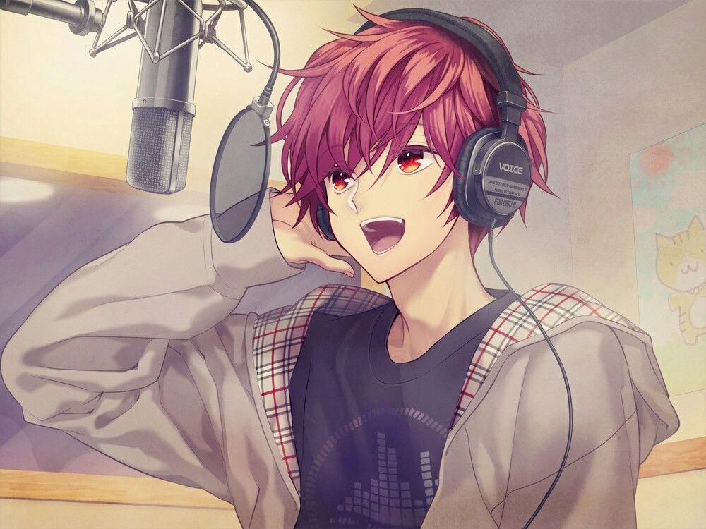Anime Art Bishounen Beautiful Anime Boy Hoodie Tshirt Causal Fashion Headphones Studio S Red Hair Anime Guy Cool Anime Guys Cute Anime Guys