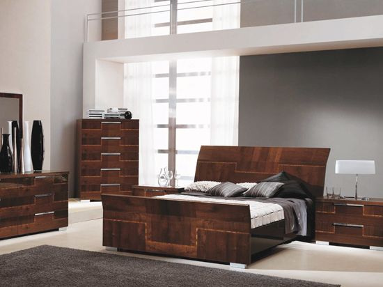 Pisa Bed Contemporary Italian Design With Zebra Wood Inlays