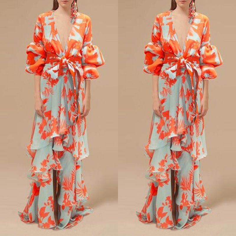 22db405b141 Sexy Deep V Neck Floral Printed Lantern Sleeve Shift Maxi Dress – Aqilabuy