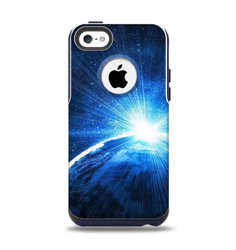 The Bright Blue Earth Light Flash Apple iPhone 5c Otterbox Commuter Case Skin Set