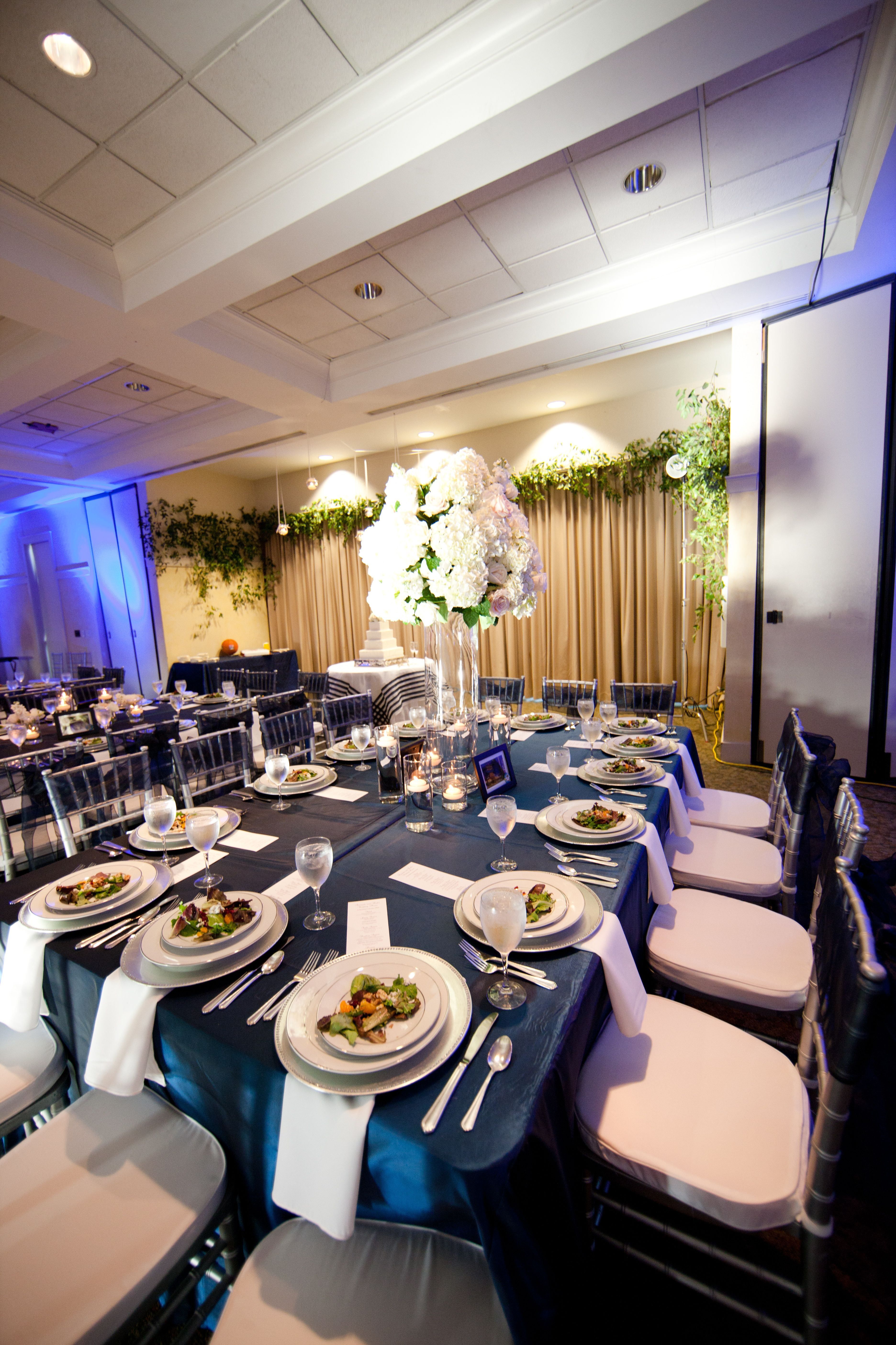 White And Navy Blue Wedding Reception By Southern Event Planners At Memphis Botanic Gardens In The