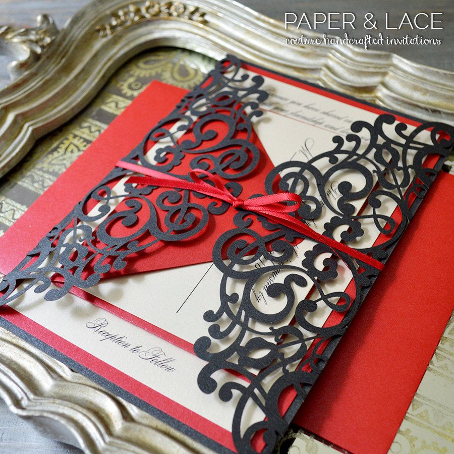 JAIME - Black and Red Laser Cut Wedding Invitation - Black Laser Cut ...