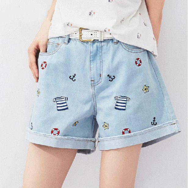 Cute embroidery denim shorts Cute Kawaii Harajuku Fashion Clothing - clothing sponsorship