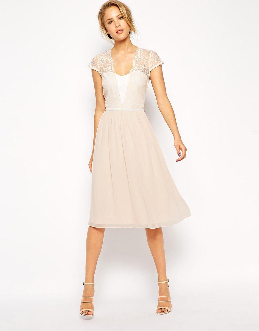 ASOS Scallop Lace Midi Dress  Asos kleider hochzeit, Kleider