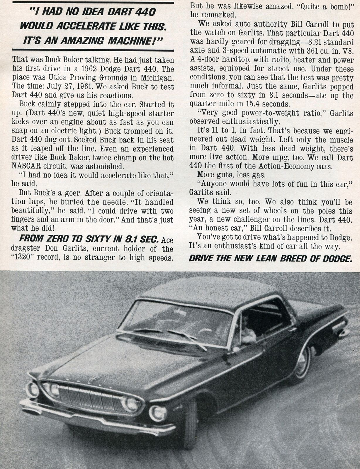 1962 Dodge Dart 440 Advertisement Sports Car Graphic December 1961