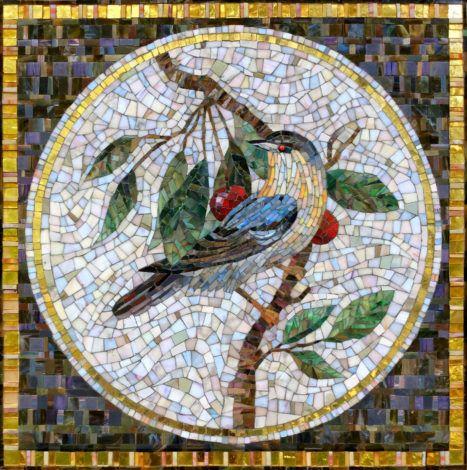 Мозаичное панно Птица на ветке в круге | Фреска искусство ...