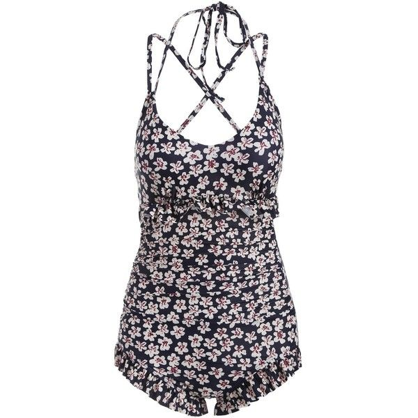 Ruffles Floral String One Piece Swimwear ($26) ❤ liked on Polyvore featuring swimwear, one-piece swimsuits, flounce swimsuit, one piece bathing suits, 1 piece bathing suits, 1 piece swimsuit and ruffle bathing suit