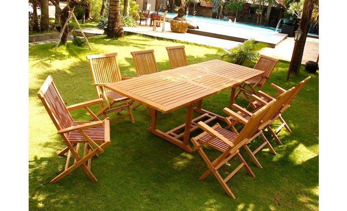 Salon de Jardin Kajang 8 en teck brut - Concept Usine | Bon Shopping ...