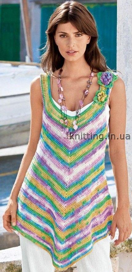 Полосатая туника | Knitting-Вязание | Pinterest | Muster, Wolle und ...