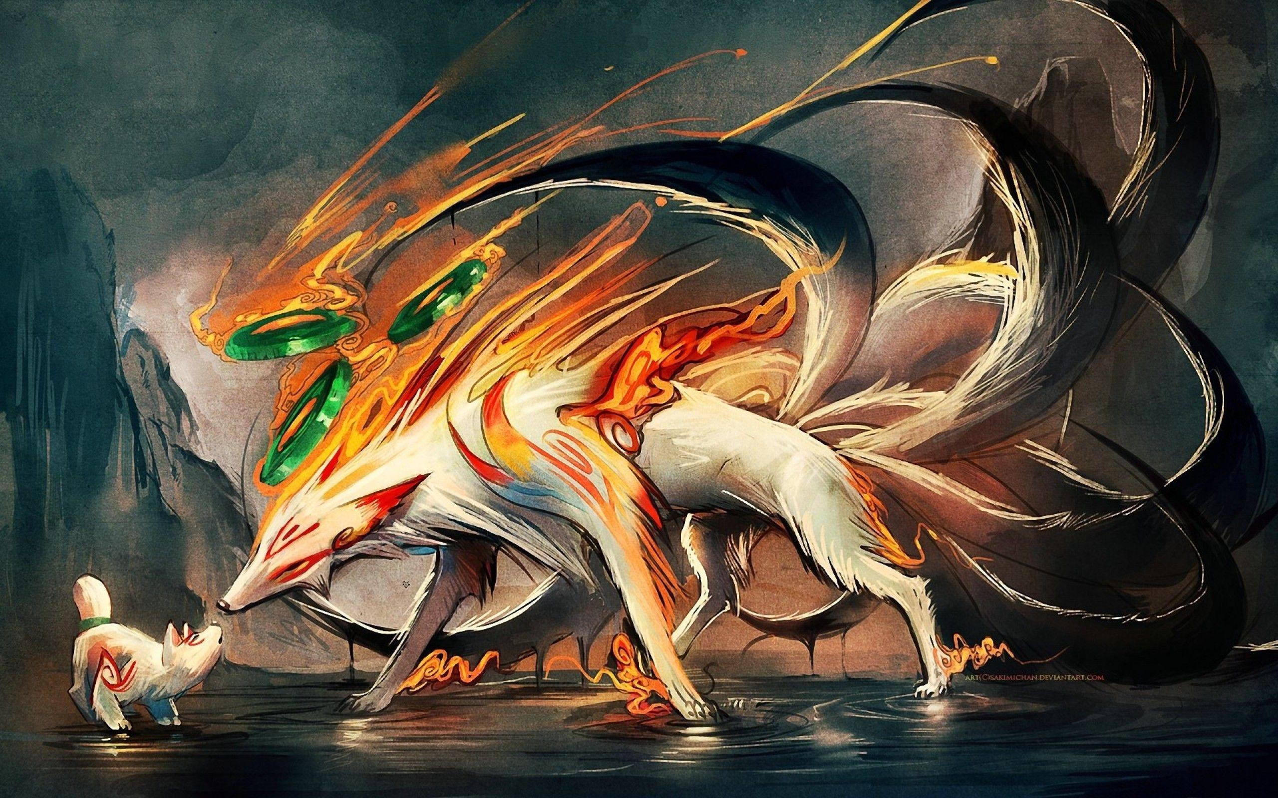 Tails Animals Okami Nine Ninetails Digital Art Artwork Amaterasu