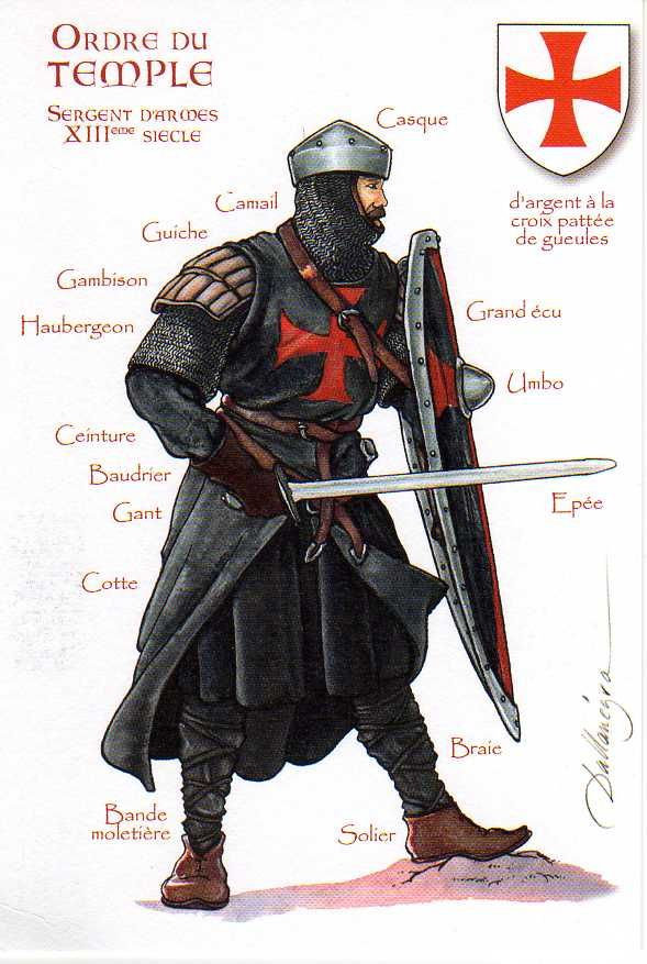 Knights Templar, Sergeant - Sergeants were men of either none noble birth or men who were married. They wore the black mantel instead of the white.