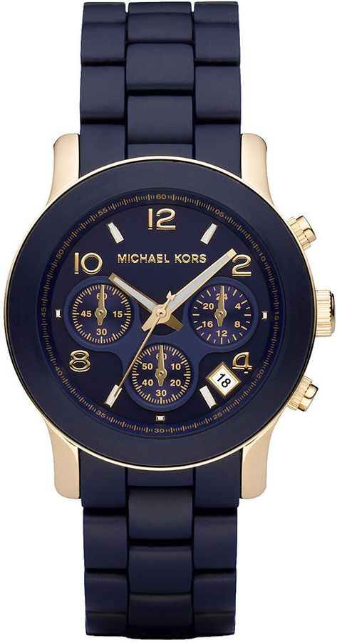 02571c01c Michael Kors Watch , Michael Kors Women's #MK5316 Navy Silicone Wrapped  Runway Watch