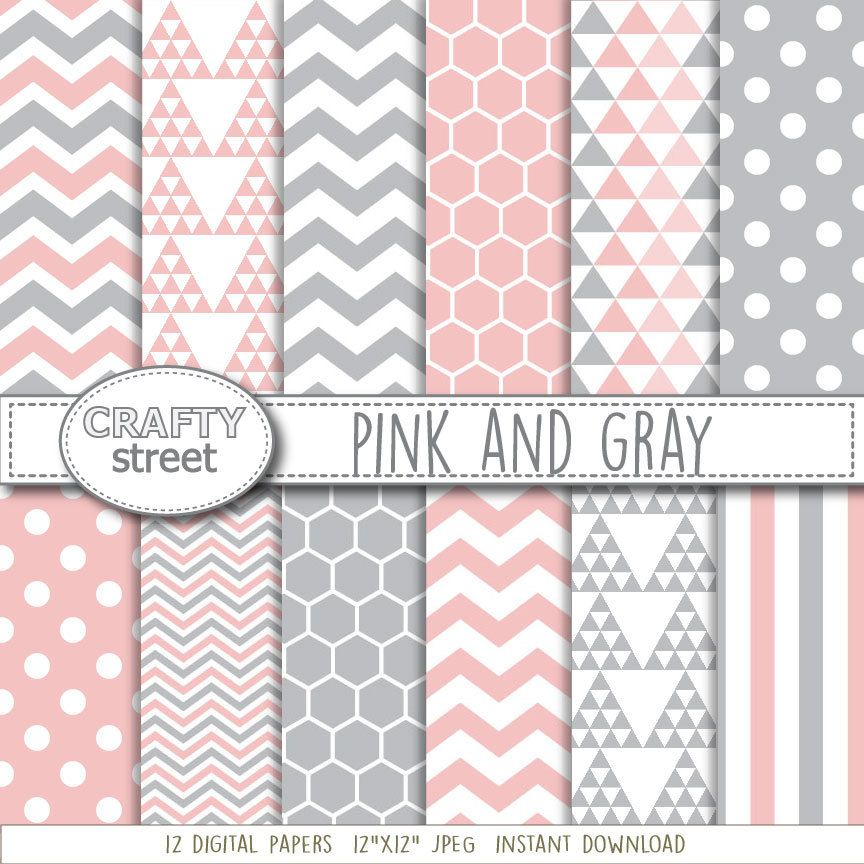 Pink And Gray Digital Paperdigital Paperpinkinstant Download
