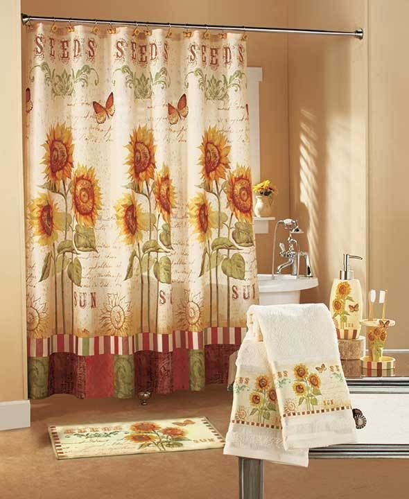 Sunflower Bathroom Towel Shower Curtain Rug Hooks Pump Accessories - Country shower curtains for the bathroom for bathroom decor ideas