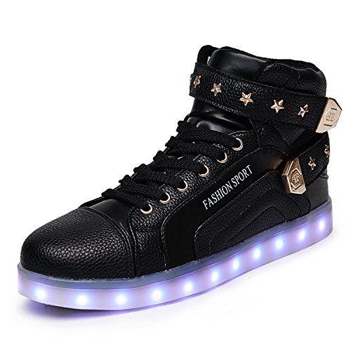 [Present:kleines Handtuch]Weiß EU 38, Rollbrett Schuhe Glow weise High-Top Party Herren Aufladen Damen JUNGLEST® Farbe Sneakers Sport für USB 7 Leuchte