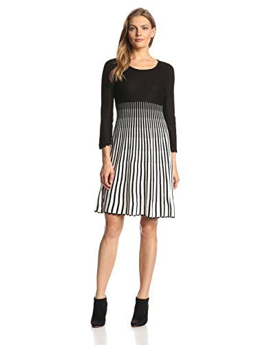 610d0834ffb Calvin Klein Women s 3 4 Sleeve Stripe Flare Sweater Dress - Nice for early  fall