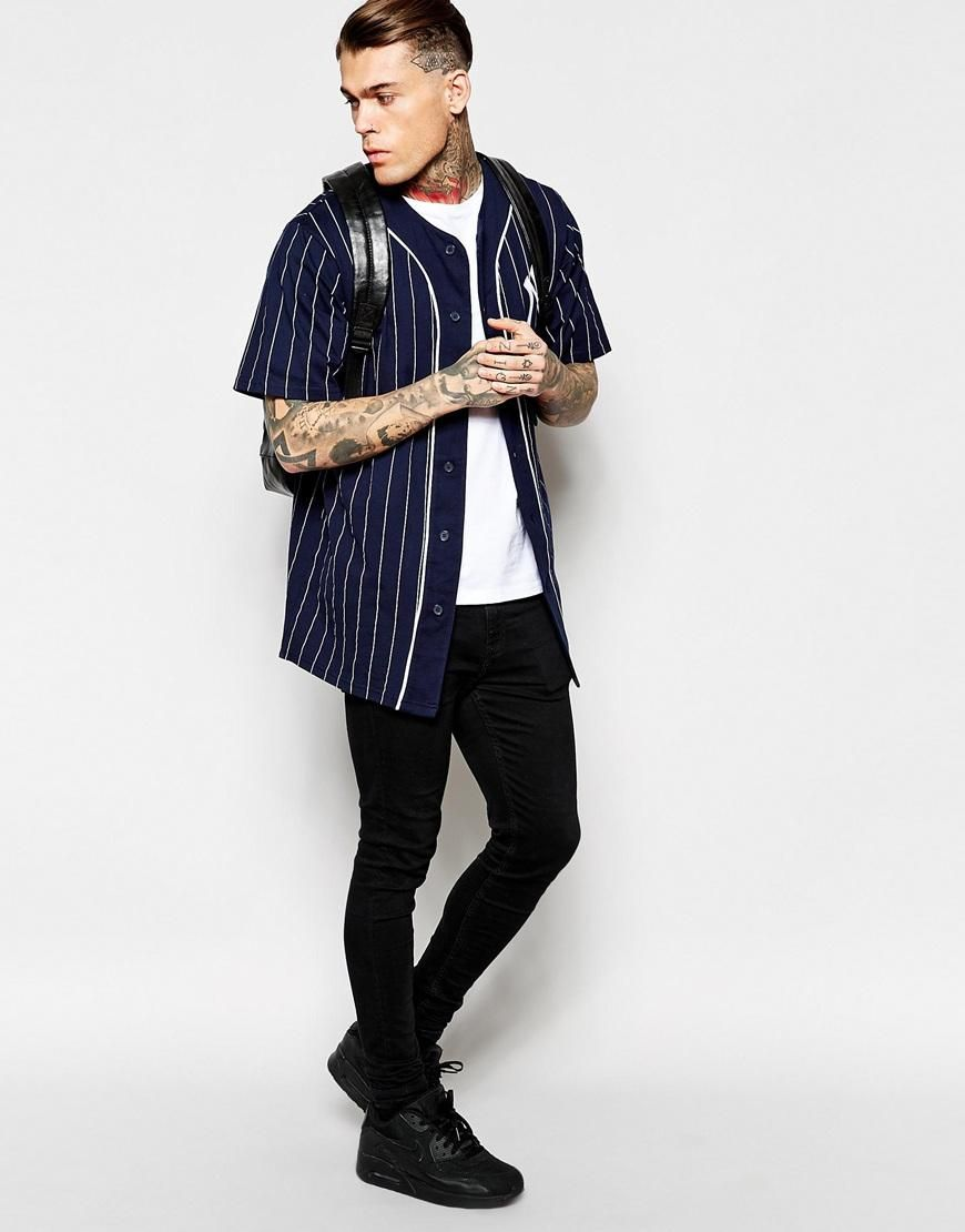 Majestic New York Yankees Longline Baseball Jersey Exclusive To Asos At Asos Com Baseball Jersey Fashion Mens Outfits Young Mens Fashion