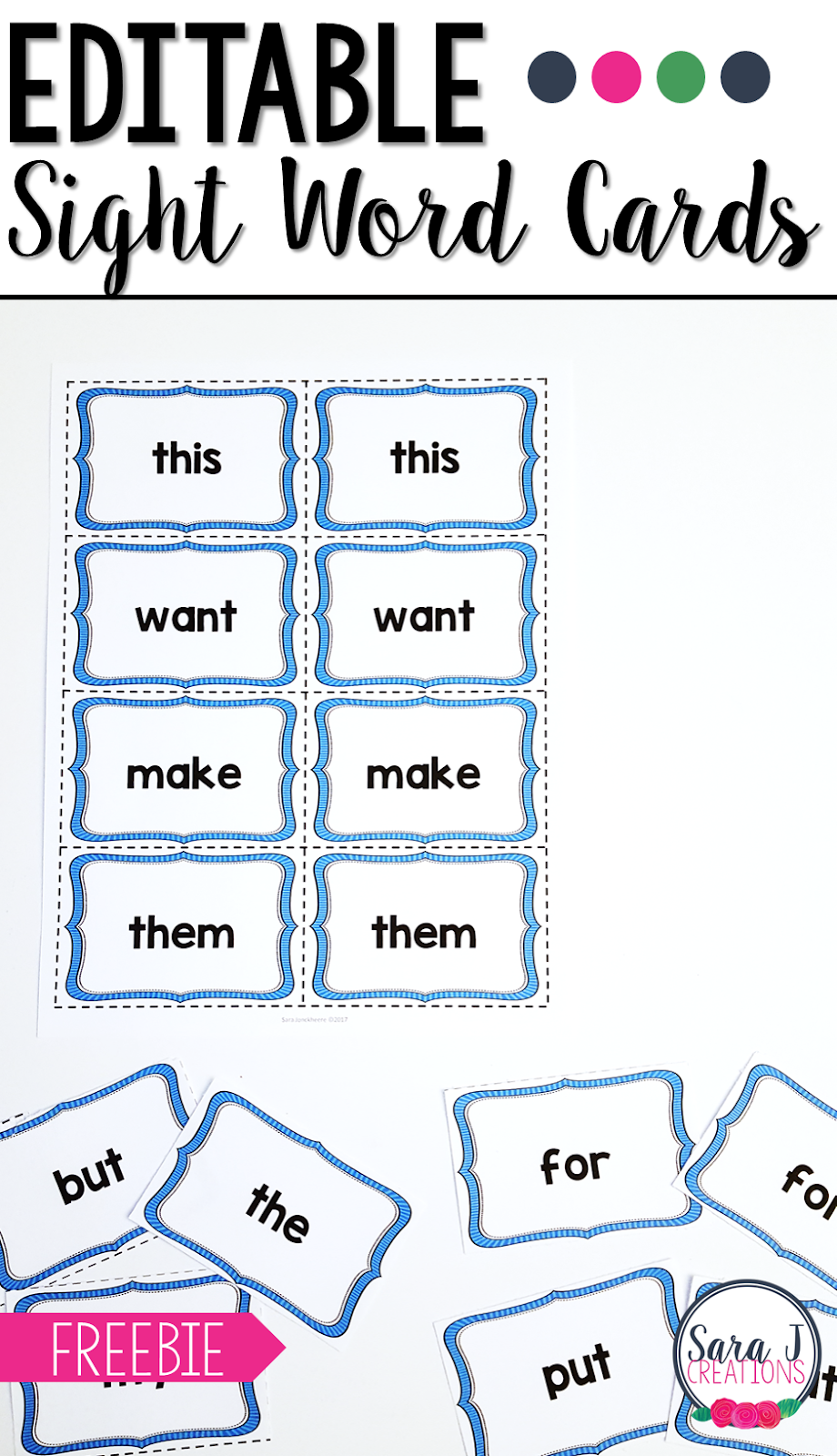 Free Editable Sight Word Cards Preschool sight words