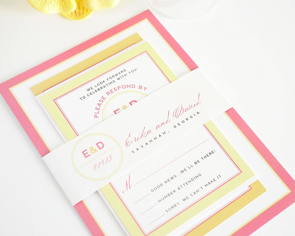 Pink and Orange Wedding Invitations with Yellow Accents Yellow