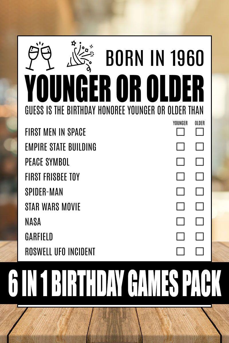 60th Birthday Games, 60 Birthday, Born In 1960, 60th