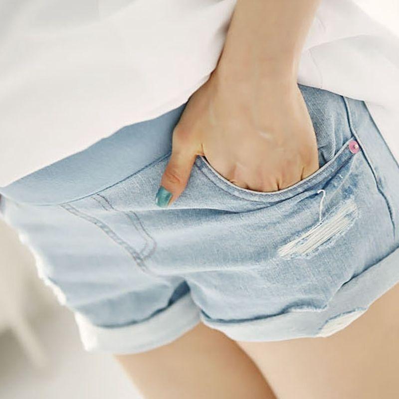 c733d6793a4 Women Maternity Shorts Over Bump Hot Pants Elastic Pregnant Short Jeans