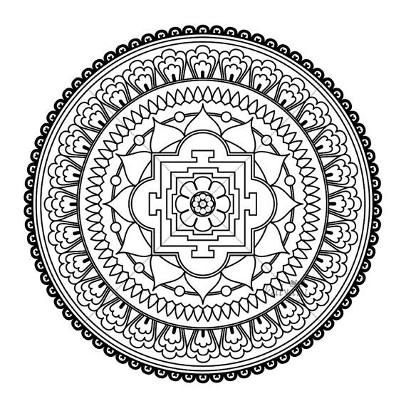 five mandala colouring pages printable digital sheets