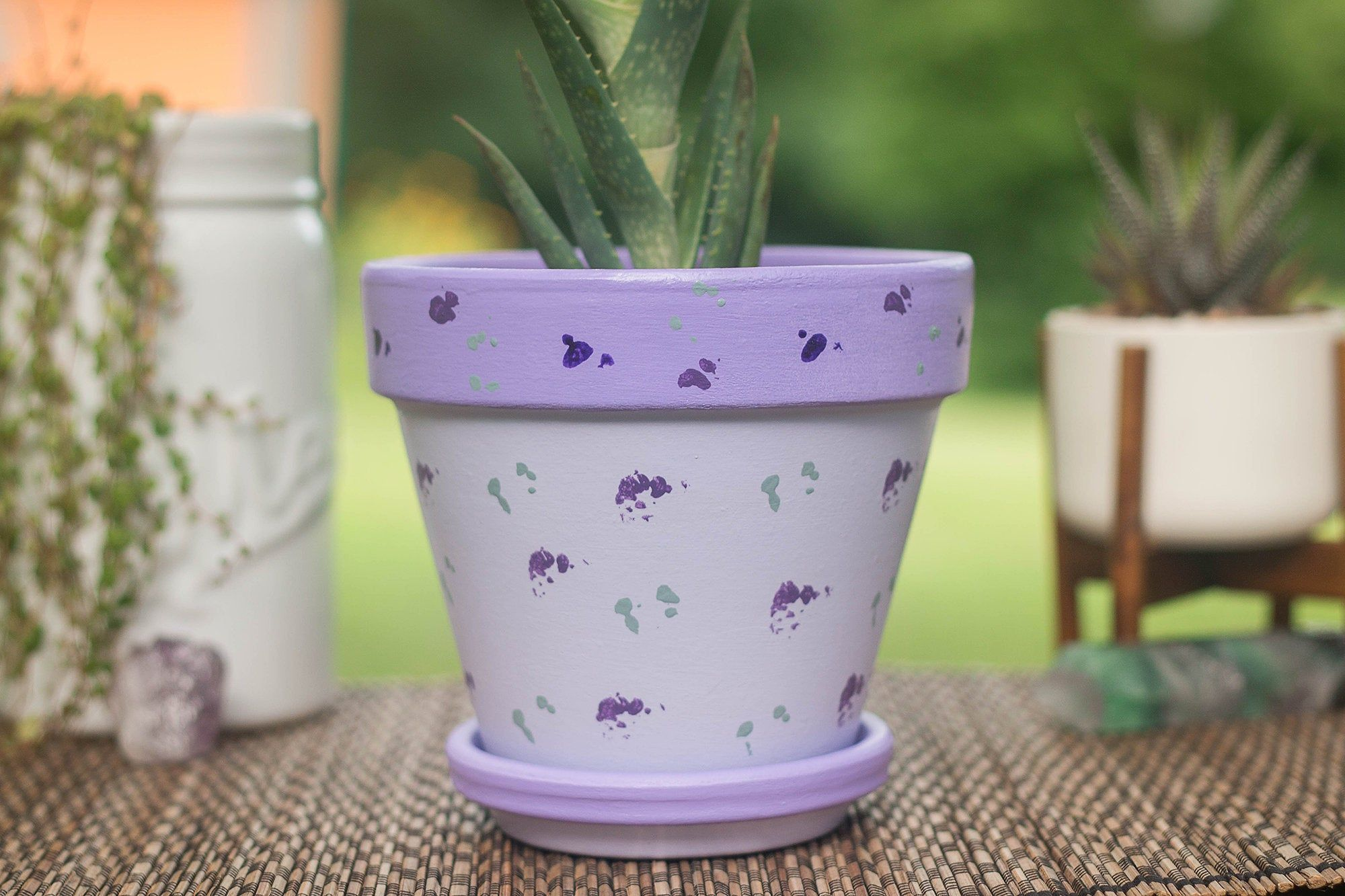 Fernleaf Hand Painted 6 Inch Lavender Abstract Acrylic Pot Decorative Pot Terracotta Pot Home Deco Decorative Pots Decorative Containers Abstract Acrylic