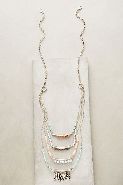 Fringed Terrace Necklace #anthropologie   I like the multi layer bars incorporating a touch of spring's pastel...from Anthropologie 2016
