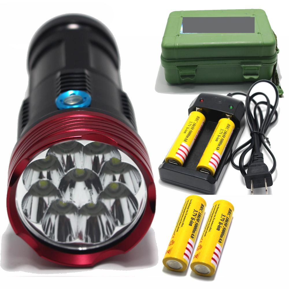 15000 Lumens King Xm L 9 T6 Led Flashlamp Led Waterproof Torch For Camping Hiking Hunting 4x 18650 Battery Charge Portable Light Led Flashlight Camping Lights