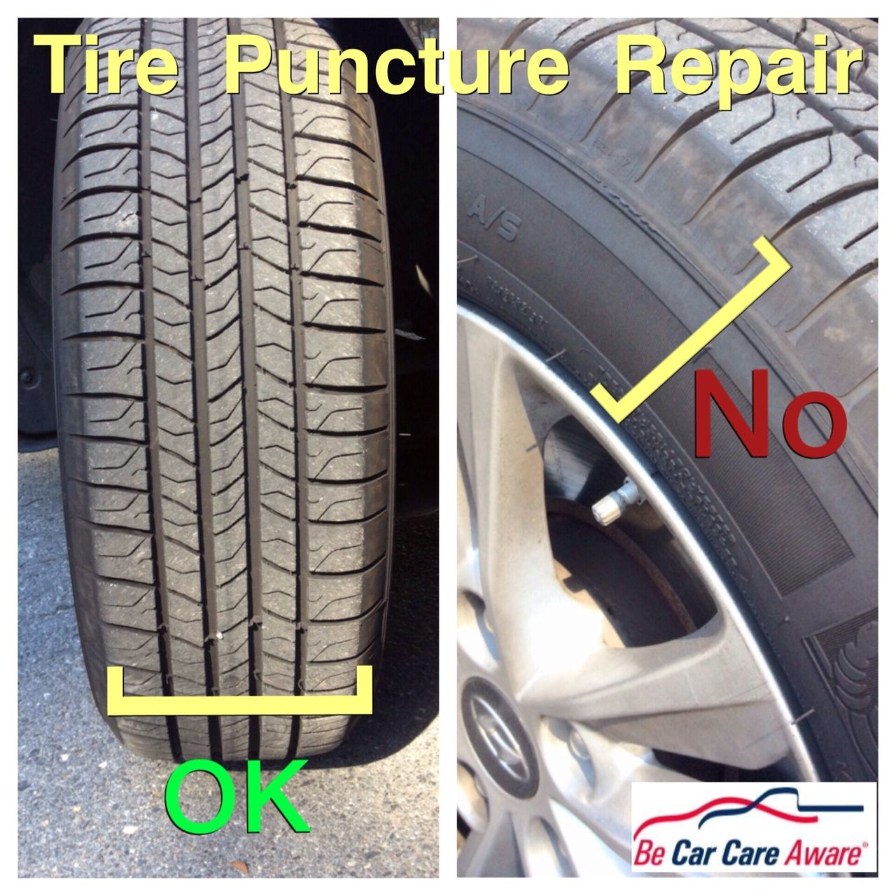 Tire Punctures Can Only Be Repaired In The Tread Area And Should Not Be Over 1 4 In Diameter Car Care Repair Car Care Tips
