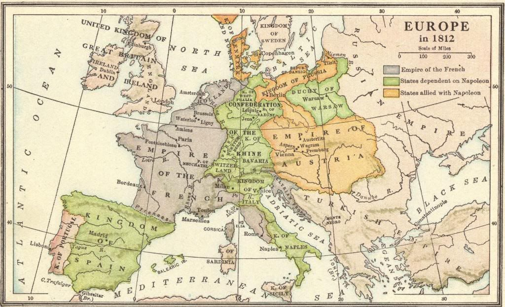 The Napoleonic Era - Europe in 1812 - Online Map Quiz | Les