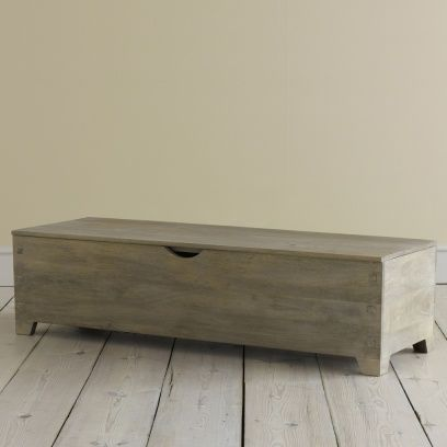 Tronc Solid Wood Hand Carved Storage Box Tronc Ottoman