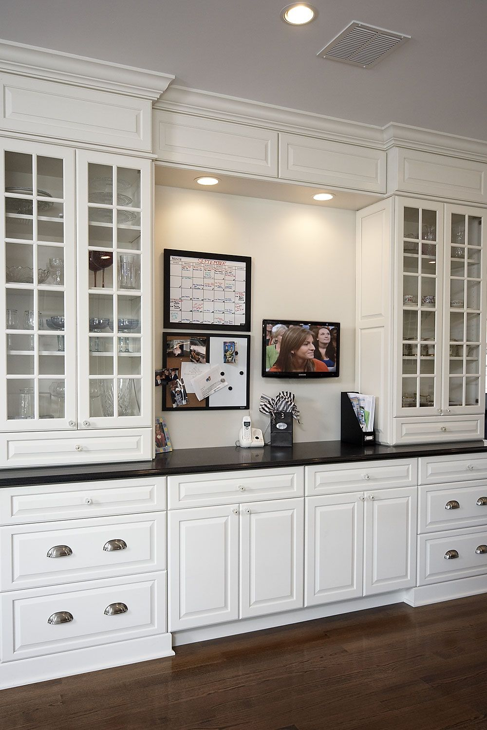 White Kitchen Built In China Cabinet And Tv Custom Dining Room Built In Buffet Dining Room Remodel
