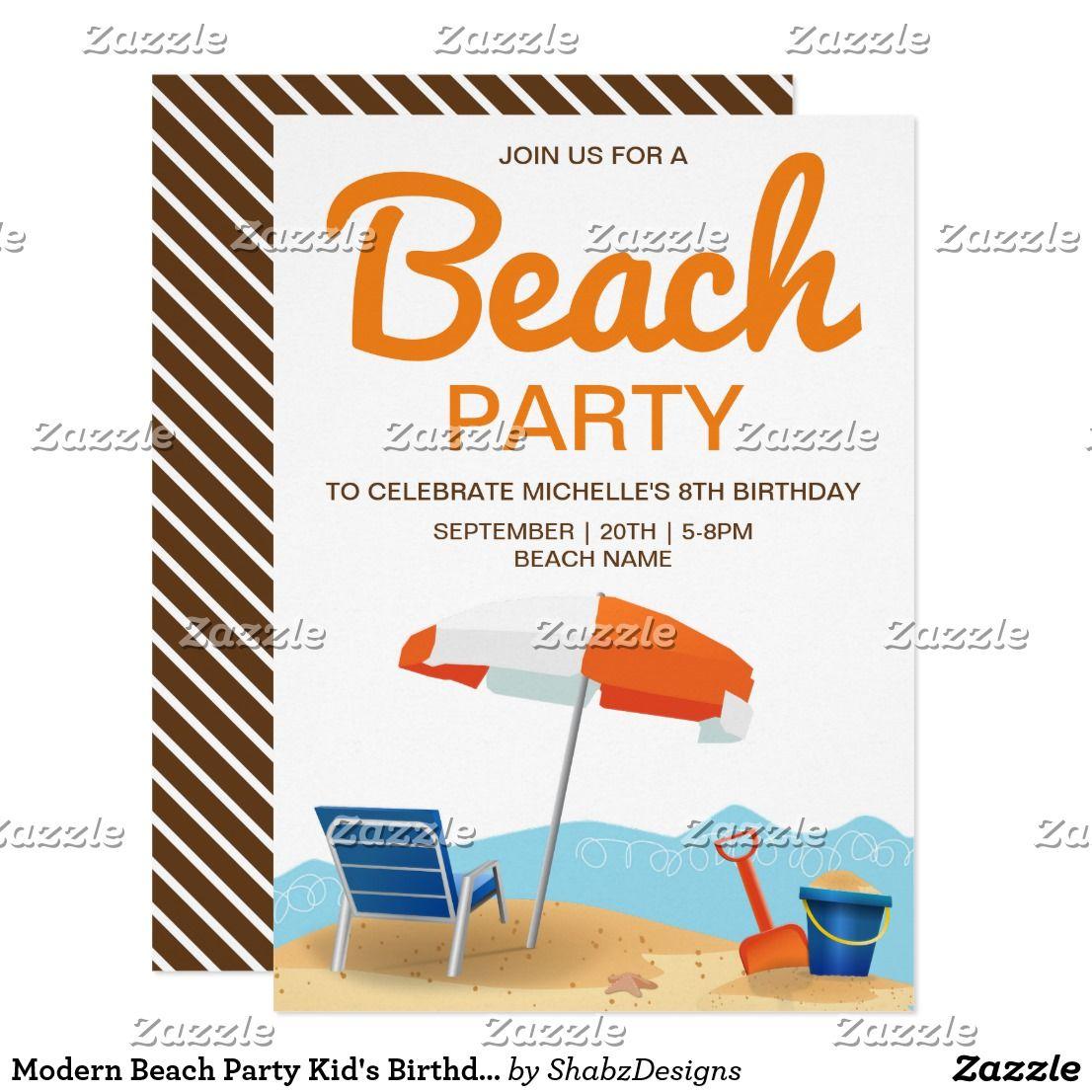 Modern Beach Party Kid\'s Birthday Invitation | Beach party ...