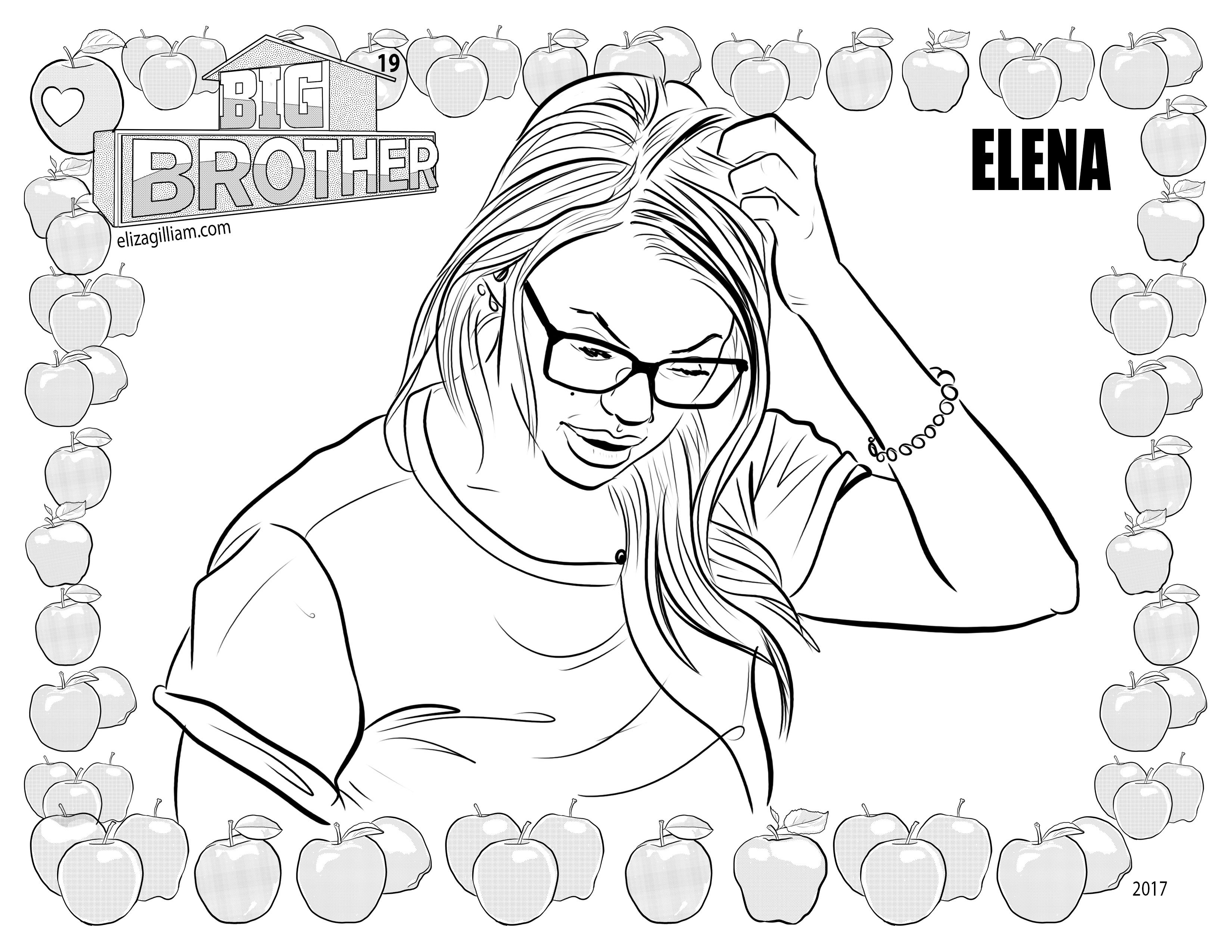 cbs big brother 19 house guest elena davies coloring page for fans