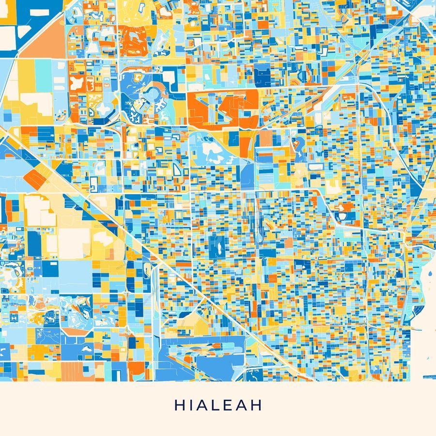 Hialeah Florida Map.Hialeah Colorful Map Poster Template Maps Vector Downloads Map