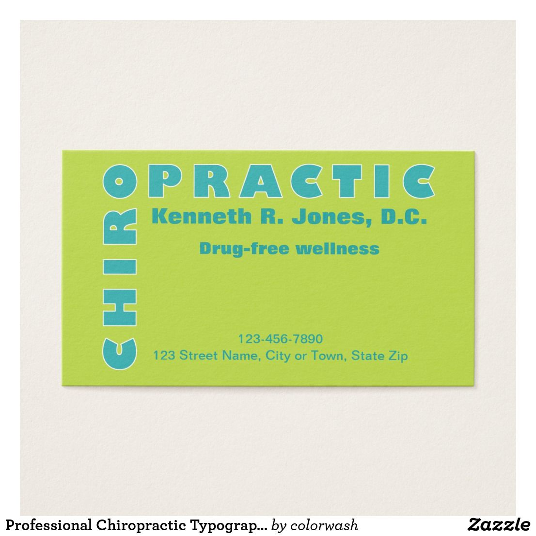 Professional Chiropractic Typographic Appointment Business Card ...