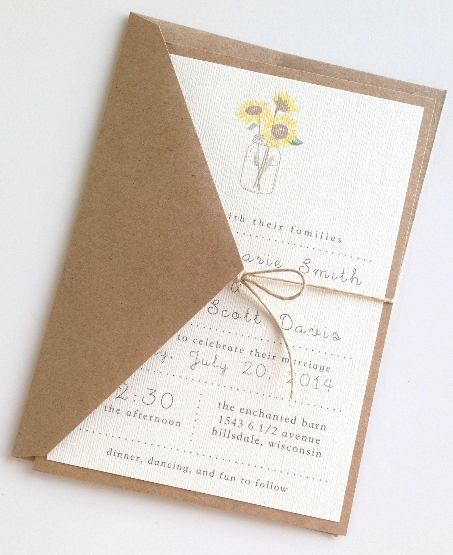 Rustic Sunflower Wedding Invitations by LemonInvitations on Etsy ...