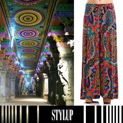 Modası geçmeyen bol paça pantolonlar şimdi daha renkli. http://stylup.com/p/15035/bol-paca-jarse-desenli-renkli-pantolon