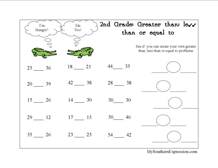 Ability 2nd Grade Greater Than Less Than Worksheet, Course Greater ...